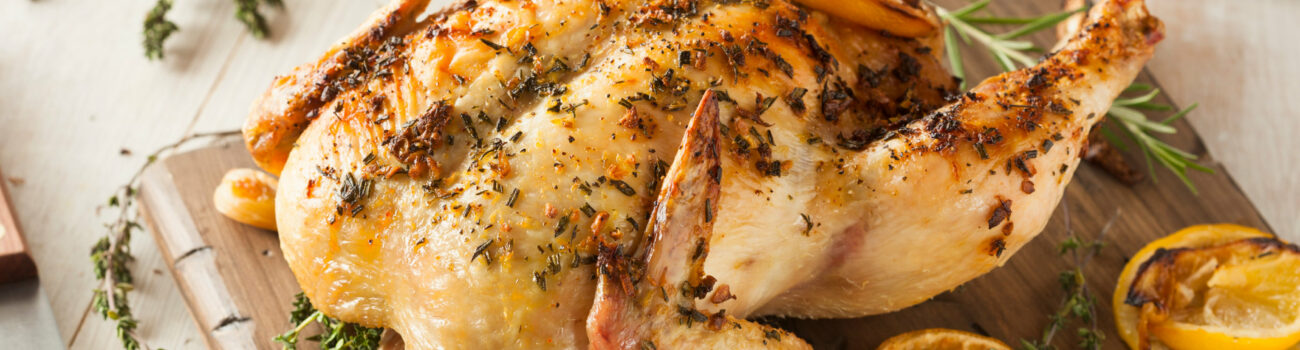 Chicken cooked from frozen on chopping board