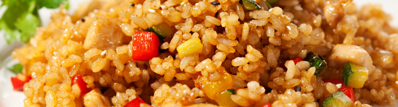 Cooked flavoured rice from frozen with vegetables