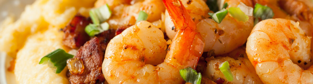 Fresh prawns on plate