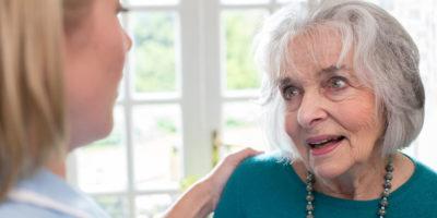 Dementia worker with patient