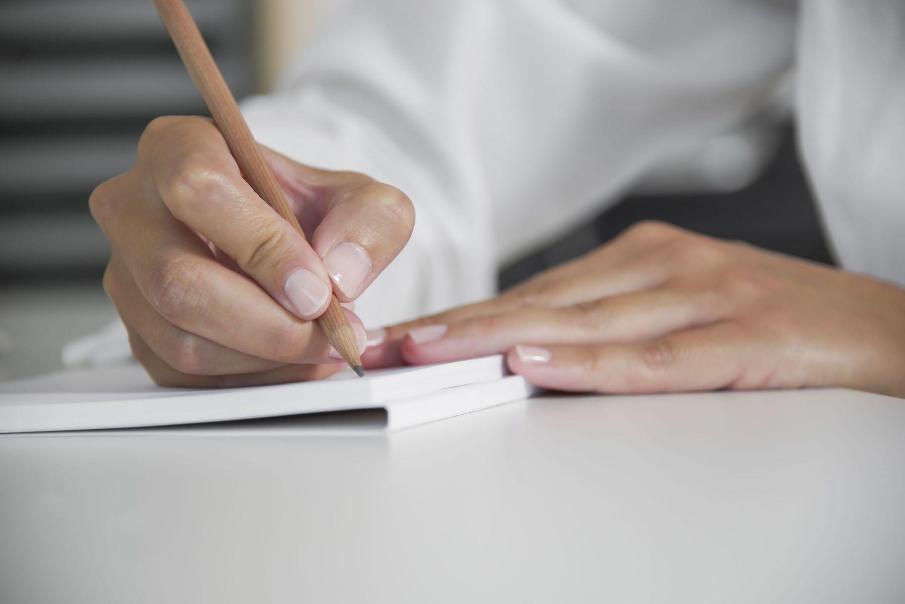Interviewer making notes