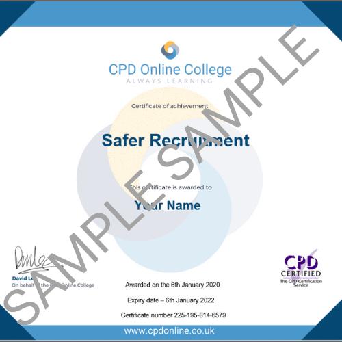 Safer Recruitment online certificate