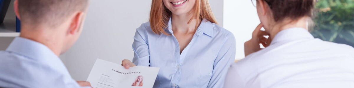 Young woman having a interview