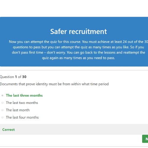 Safer Recruitment quiz questions