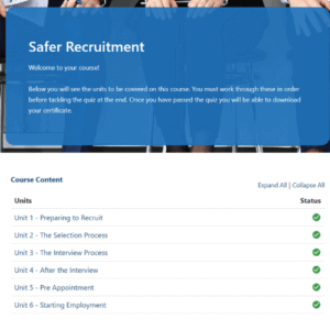 Safer Recruitment home page units