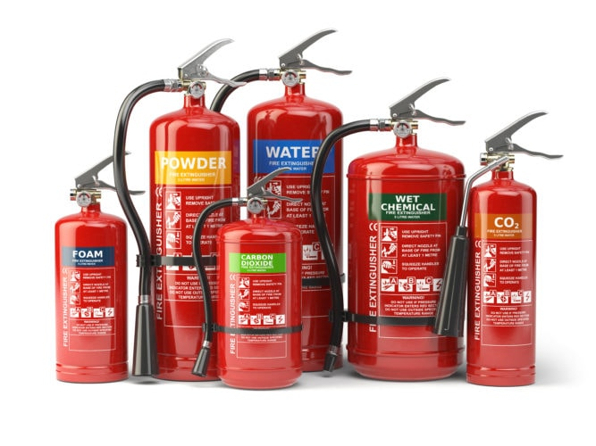 The classes of fire extinguishers