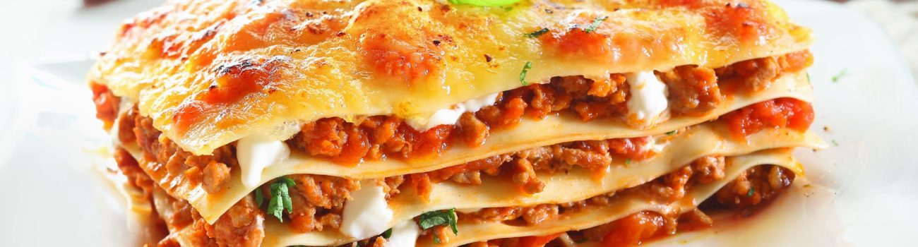 traditional lasagna made with frozen minced beef