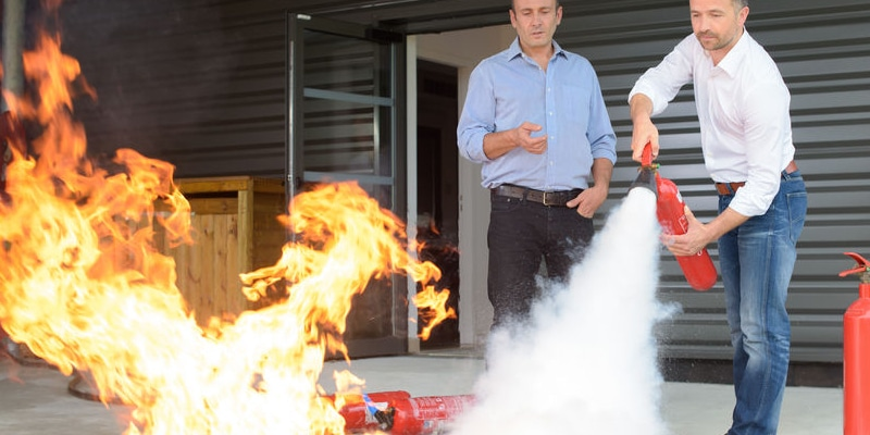learning to use the fire extinguisher