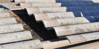 Asbestos panels on roof