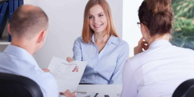 Woman in the recruitment stage having job interview