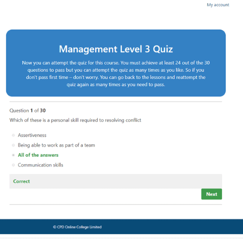 Management Level 3 quiz question