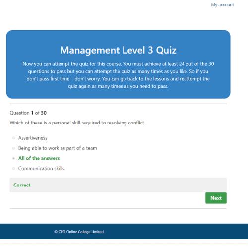 Management Level 3 quiz question
