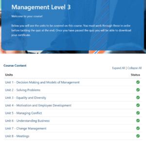 Management Level 3 Unit page