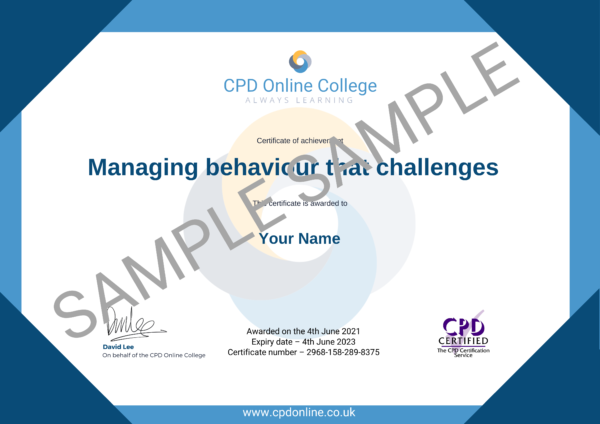 Managing behaviour that challenges CPD Certificate