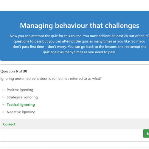 Managing challening behaviour quiz question