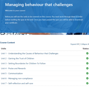 Managing behaviour that challenges units