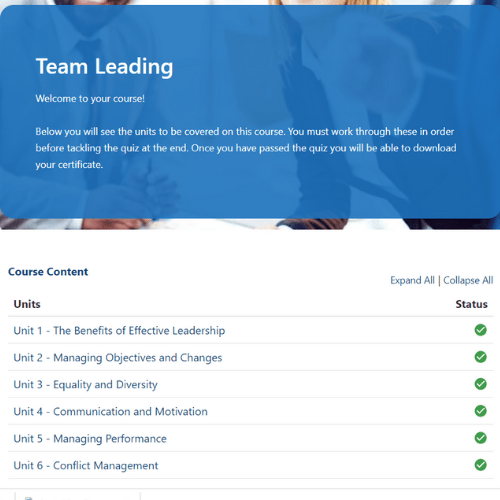 Team leading units on first page