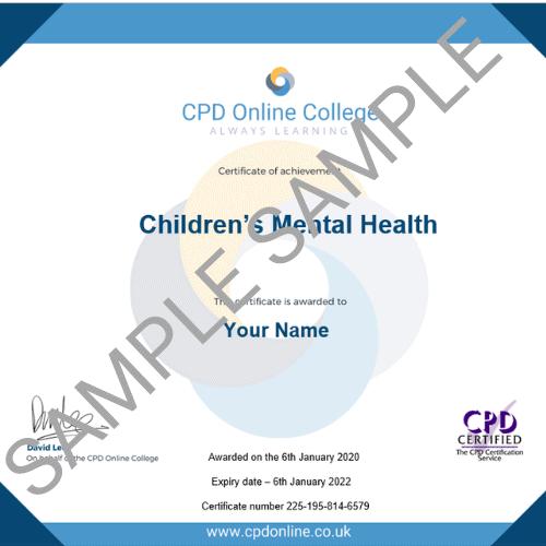 Children's mental health PDF certificate
