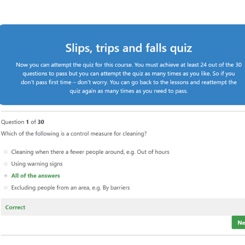 Slips, trips and falls quiz question