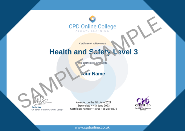 Health and Safety Level 3 CPD Certificate