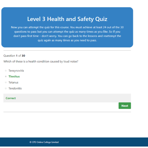Health and Safety Level 3 Quiz Question