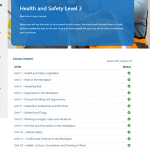 Health and Safety Level 3 Unit Page