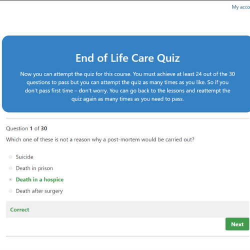 End of Life Care Quiz Question