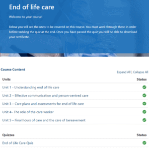 End of Life Care Units Page