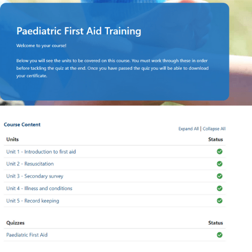 Paediatric First Aid Slides page