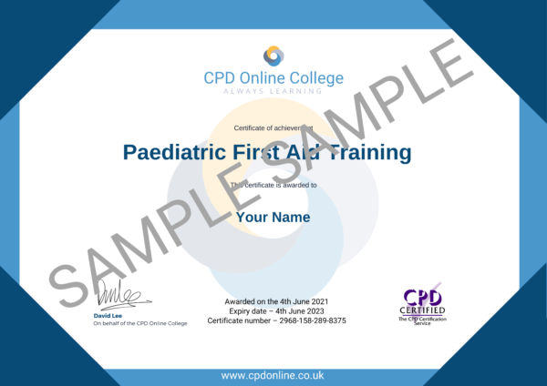 Paediatric First Aid Training CPD Certificate