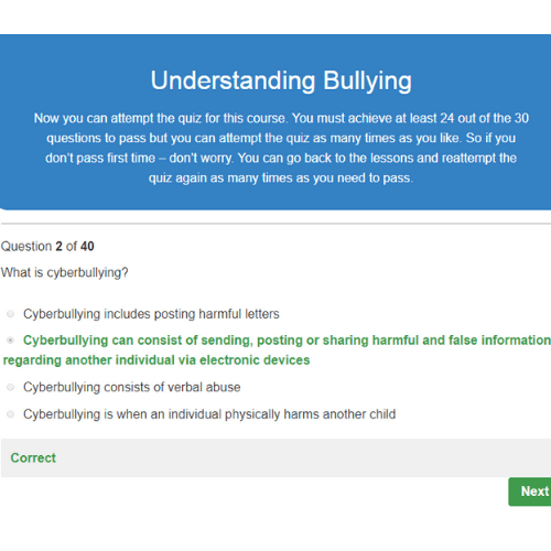Understanding Bullying Correct Quiz Question