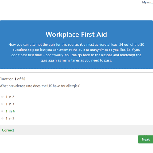 Workplace First Aid Quiz Question