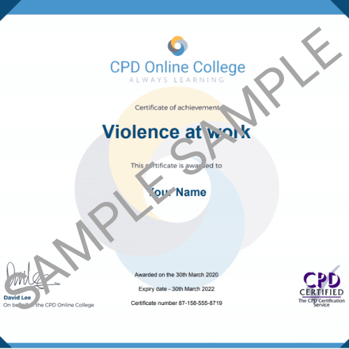 Violence at work certificate