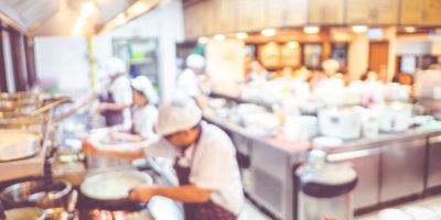 Chefs practicing kitchen safety