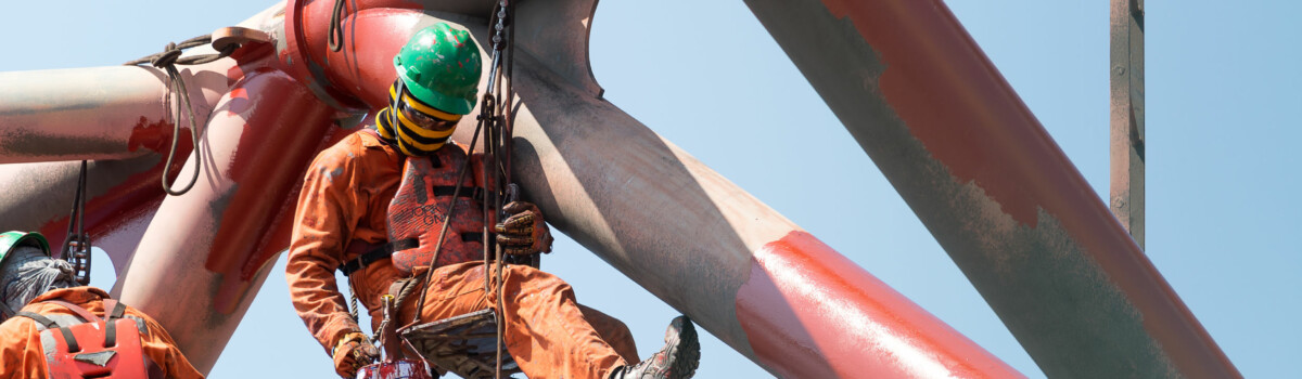 Worker using fall protection system to prevent any accidents