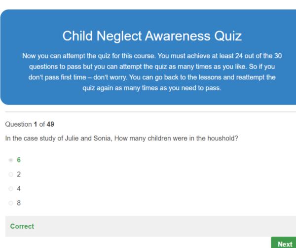 Child Neglect Awareness Quiz Question