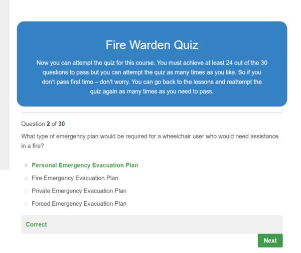 Fire Warden Quiz Question