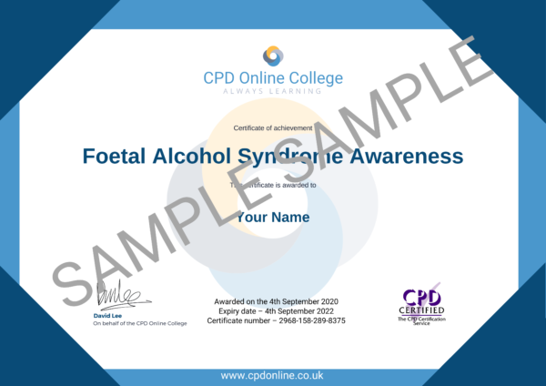 Foetal Alcohol Syndrome Awareness CPD Certificate