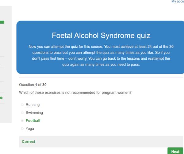 Foetal Alcohol Syndrome Awareness Quiz Question