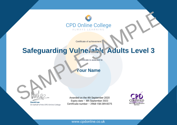 Safeguarding Vulnerable Adults Level 3 CPD Certificate