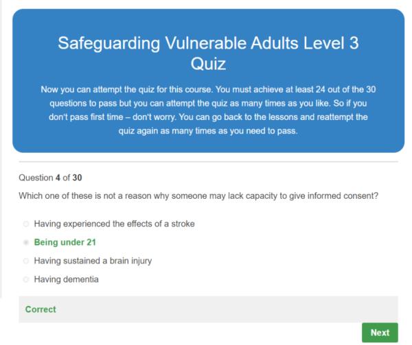 Safeguarding Vulnerable Adults Level 3 Quiz Question