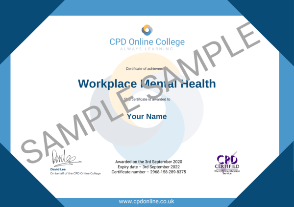 Workplace Mental Health PDF Certificate