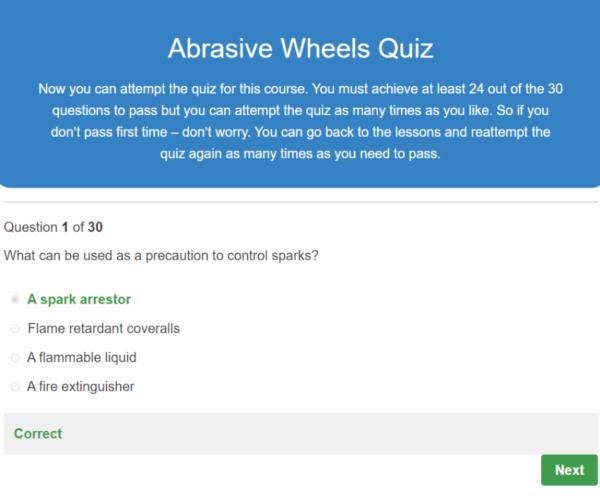 Abrasive Wheels Quiz Question