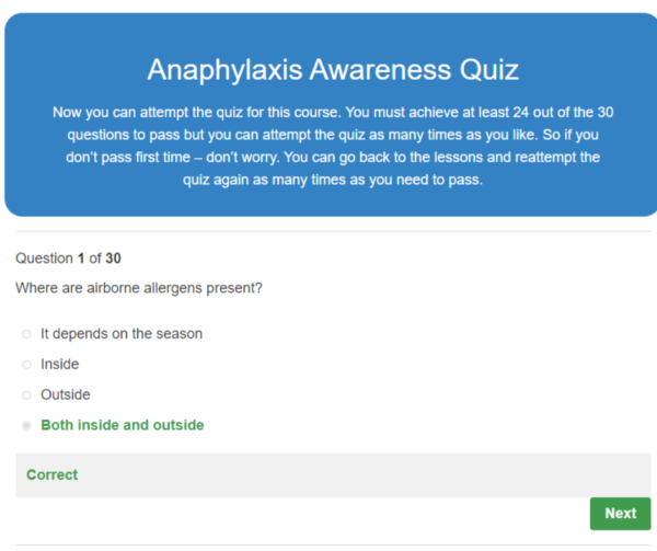 Anaphylaxis Awareness Quiz Question