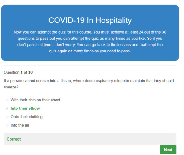 COVID-19 In Hospitality Quiz Question
