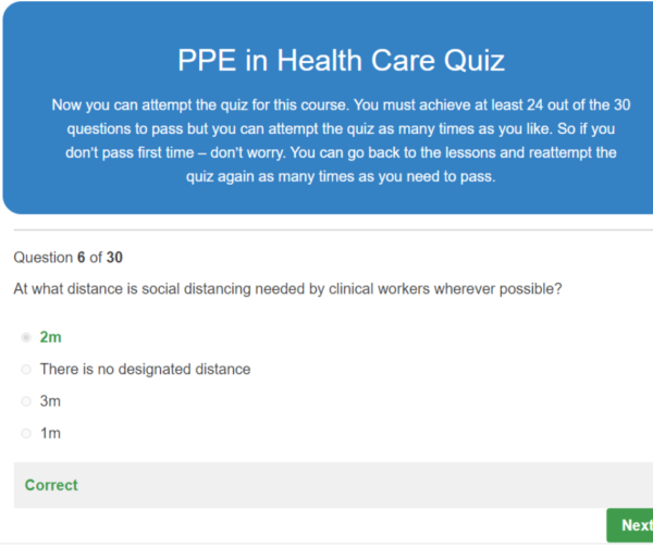 PPe In Healthcare Quiz Question