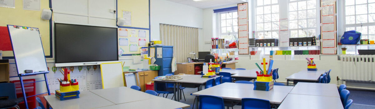Classroom set for teaching ensuring the safeguarding in schools is adhered to.