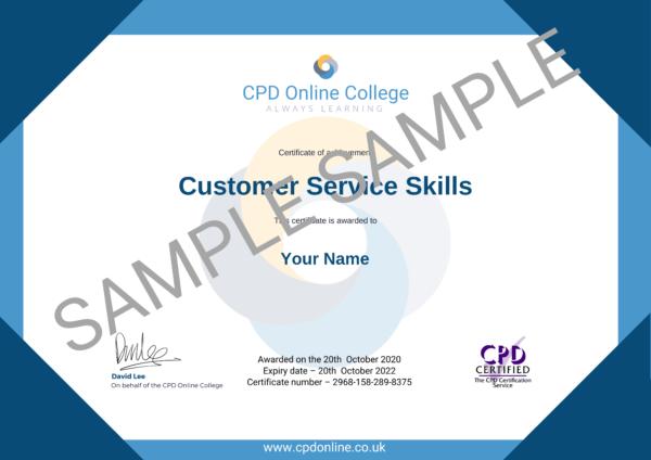Customer Service Skills CPD Certificate