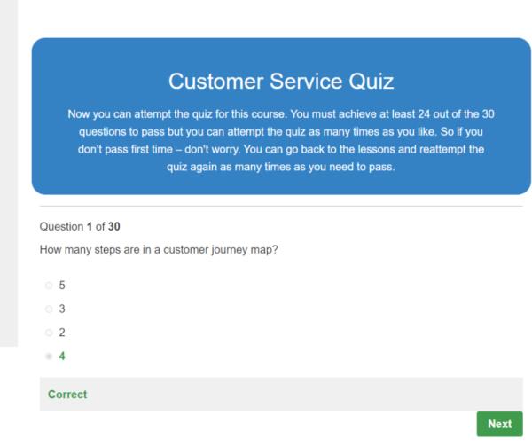 Customer Service Skills Quiz Question
