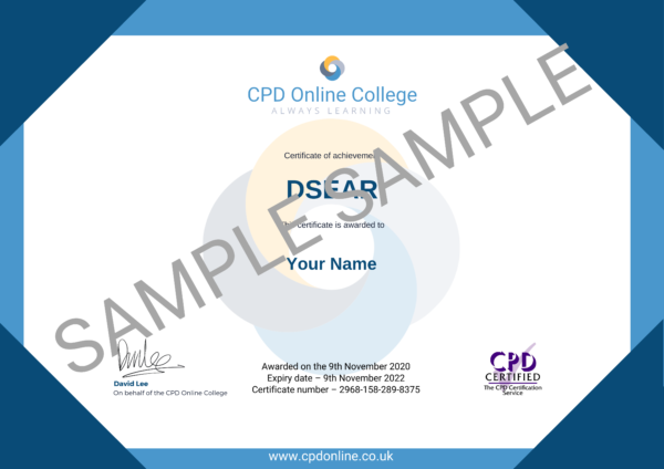 DSEAR Course CPD Certificate